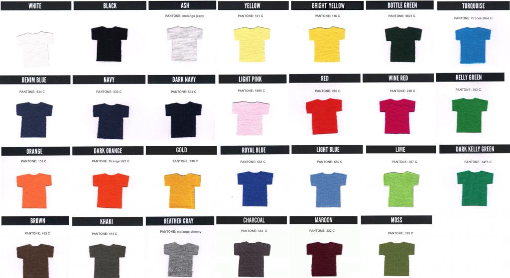 kolory koszulek KEYA