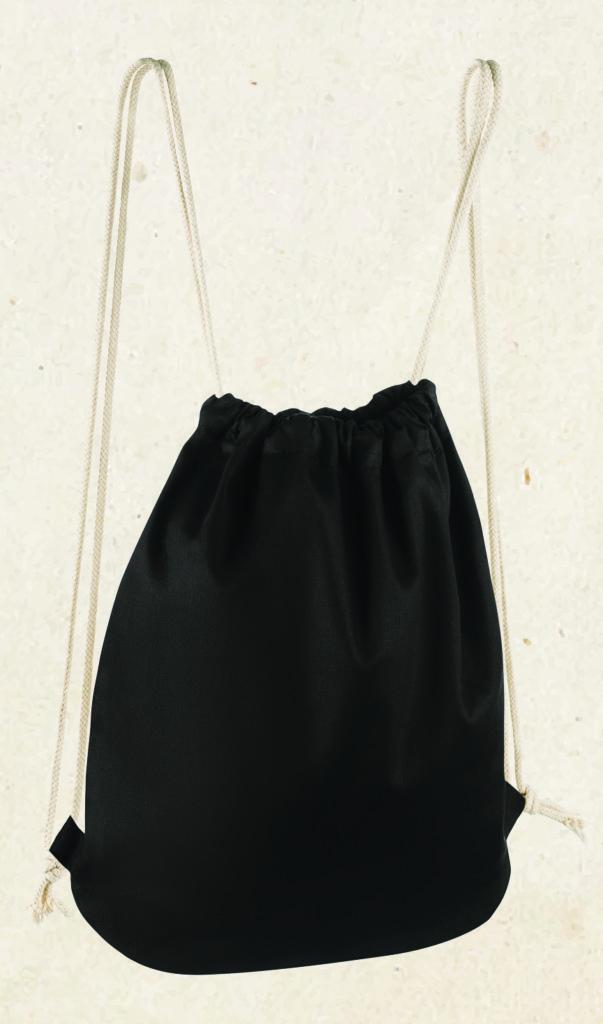 Zdjęcie czarnego worko plecaka z bawełny