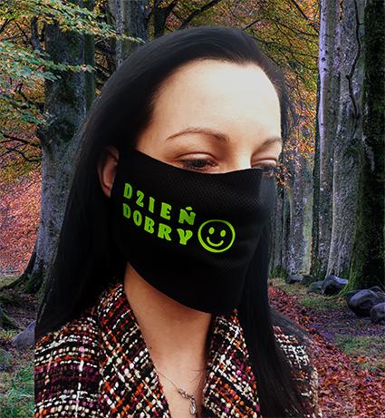 Czarna maska na twarz